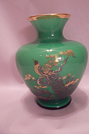 Enesco Green Porcelain Peacock Vase