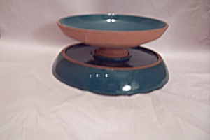 Frankoma Pottery Turquoise Bowl & Underplate Set