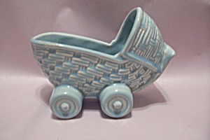 Blue Pottery Baby Bassinet Planter Or Cache Pot (Image1)