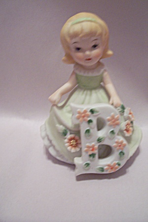"Porcelain Little Girl With ""b"" Figurine"