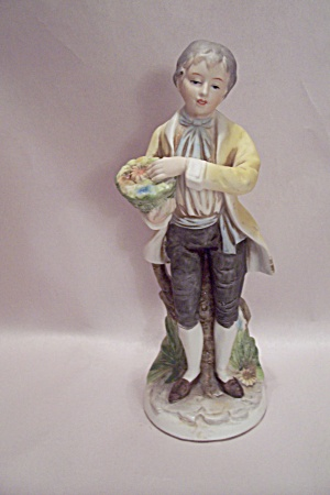 Porcelain Young Man With Basket Of Flowers Figurine