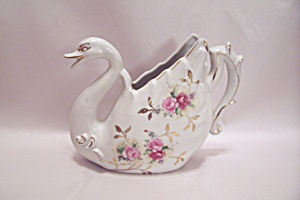 Porcelain Rose Decorated Swan Cache Pot/vase