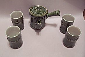 Japanese Porcelain Green Bamboo 5-piece Tea Set