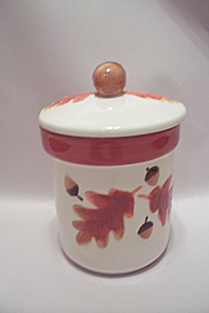 Acorn Decorated Lidded Porcelain Canister