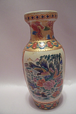 Occupied Japan Flower & Duck Decorated Porcelain Vase