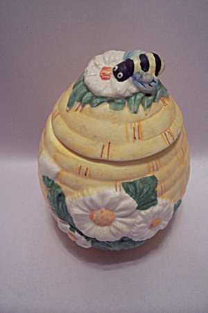 Porcelain Flower & Bee Decorated Honey Pot