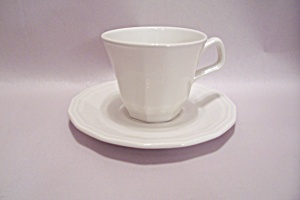 Homer Laughlin Colonial White China Footed Cup & Saucer