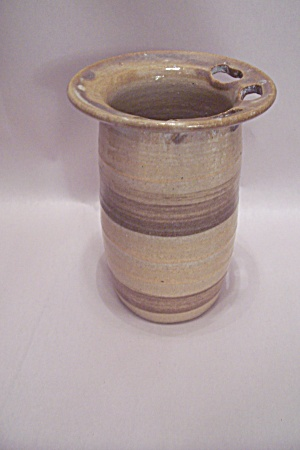 Handmade Brown Glaze Art Pottery Toothpick Holder