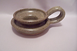Handmade Beige Art Pottery Candle Holder