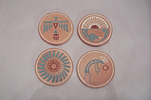 Set Of Four Southwestern Pueblo Pottery Coasters