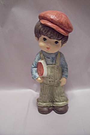 Little School Boy Porcelain Figurine