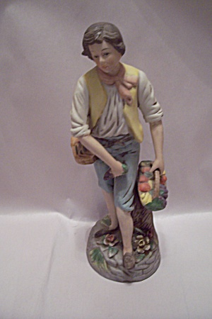 Young Man With Vegetable Basket Figurine