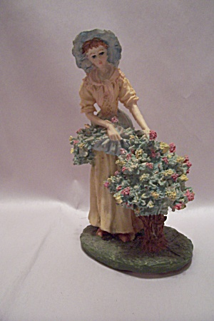 Porcelain Young Lady Picking Flowers Figurine