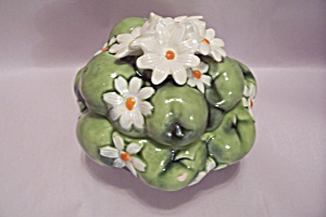 Inarco Green Porcelain Apple Pattern Lidded Bowl