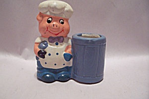 Porcelain Pig Chef  Hand PaintedToothpick Holder (Image1)