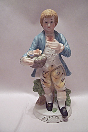 Colonial Dressed Young Boy With Flowers Figurine