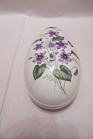 Porcelain Flower Decorated Egg Shaped Cache Box