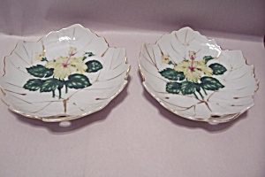 Pair Of Porcelain Decorative Leaf Shaped Dishes (Image1)