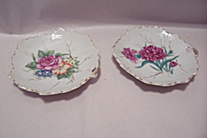 Pair Of Porcelain Decorative Leaf Shaped Dishes