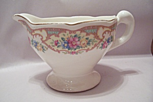 Floral Decorated White China Pedestal Creamer