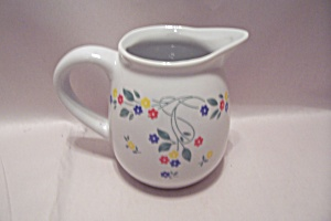 White Flower Decorated Pottery Creamer