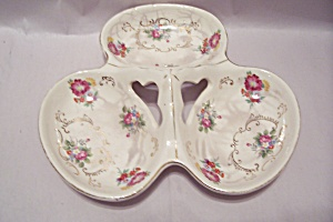 Occupied Japan Flower Decorated 3-part Porcelain Dish