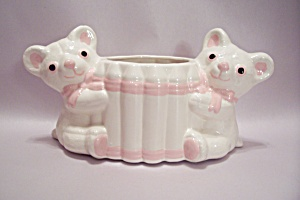 Japanese Porcelain Teddy Bear Planter/cache Pot