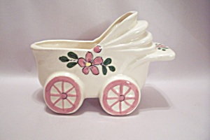 Japanese Porcelain Baby Buggy Planter/cache Pot