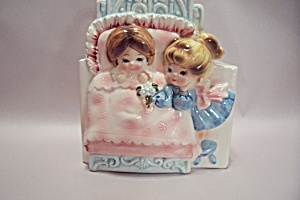 Japanese Porcelain Little Girls At Bedtime Planter