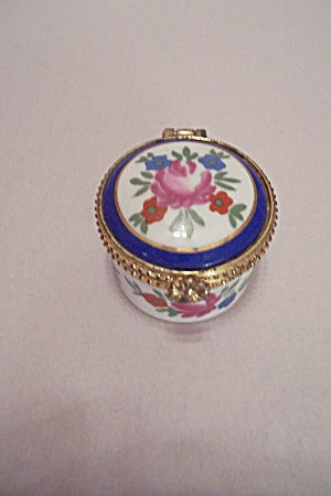 Floral Decorated Porcelain Ring Hinged Case