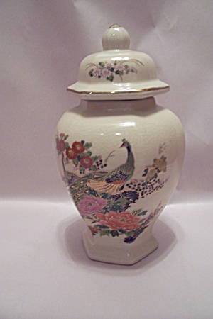 Japanese Porcelain Peacock Decorated Ginger Jar