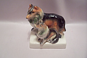 Pair Of Collie Dogs Porcelain Figurine