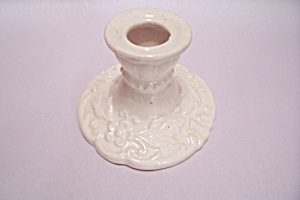 Antique White Floral Decorated Porcelain Candle Holder