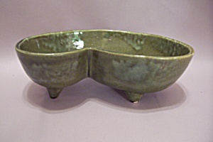 Kovina Pottery Green Footed Oblong Bowl