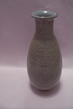 Hand Thrown Avocado Green Art Pottery Bottle Vase