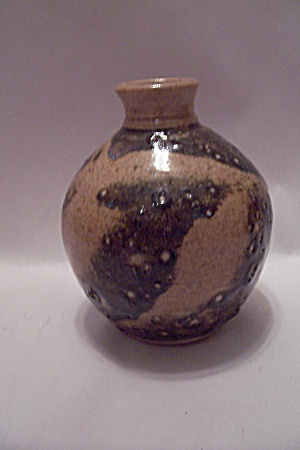 Hand Thrown Brown Earth Tones Art Pottery Bottle Vase