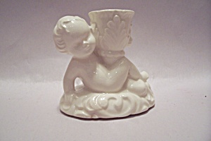White Porcelain Cupid Candle Holder