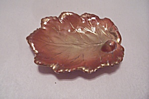 Brown Porcelain Decorative Leaf Dish