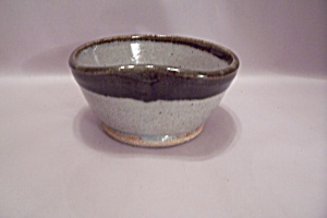 Hand Thrown Beige & Brown Art Pottery Bowl