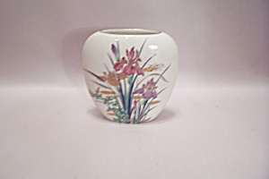 Porcelain Iris Decorative Oval Vase