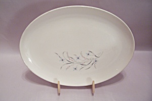 White Modernistic Decorated Oval China Platter