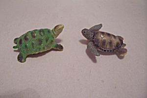 Pair Of Composition Tiny Turtle Figurines