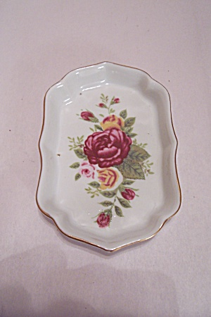Porcelain Rose Decorated Oval Dish