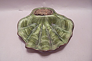 Green Sea Shell Pottery Dish Souvenir Of Los Angeles