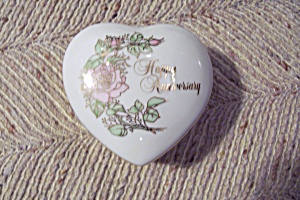 Enesco Porcelain Happy Anniversary Heart Box