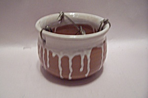 Hand Thrown Art Pottery Brown & White Hanging Planter
