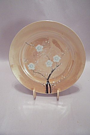 Japanese Peach Lustre Flower Decorated Salad Plate