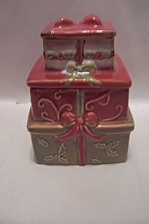 Porcelain Christmas Packages Lidded Container
