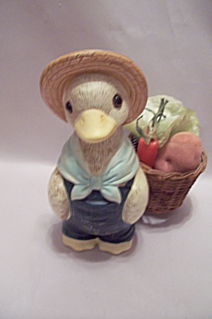 Porcelain Duck Gardener With Basket Of Veggies