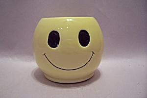 Yellow Pottery Happy Face Bowl/cache Pot